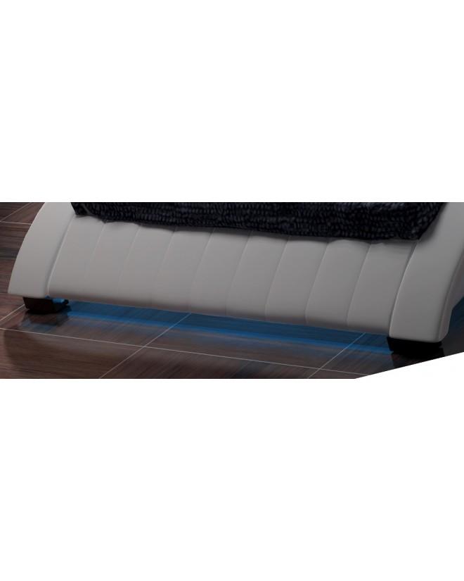 Łóżko tapicerowane S7 180 cm - skóra, stelaż GRATIS !!!  LED