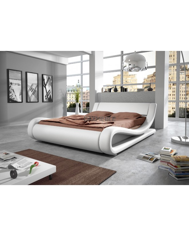 Łóżko tapicerowane S5 180 cm - skóra, stelaż GRATIS !!!  LED