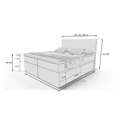 Łózko kontynentalne DORMIO z 3 materacami i LED