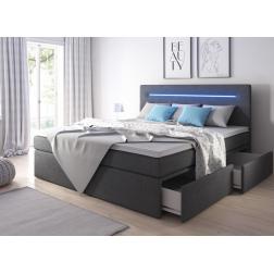 Łóżko kontynentalne SIRIO z pojemnikami 3 materacami i LED