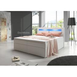 Łóżko kontynentalne MILANO 1 z pojemnikami i 3 materacami